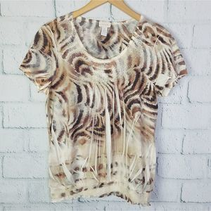 Chico's Animal Print Embellished Blouse